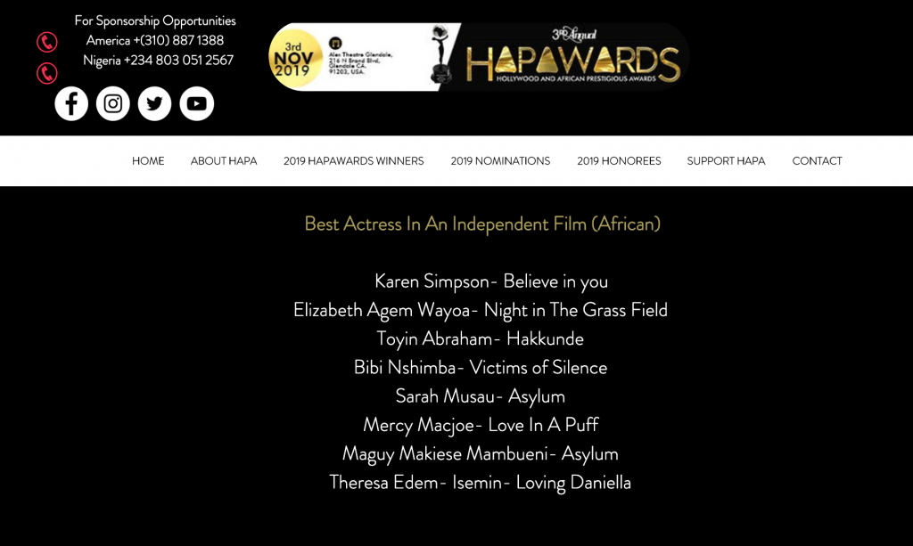 Nomination list for HAPAwards, Best Actress in an Independent Film (African)